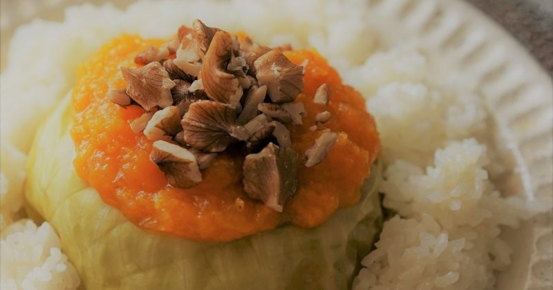 合桃南瓜蓉撈椰菜蒸腩肉