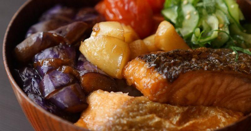蒲燒三文魚雜菜丼