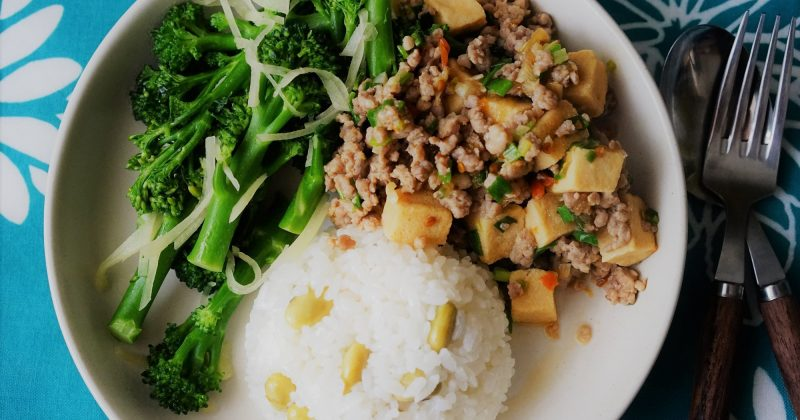 凍豆腐肉末飯
