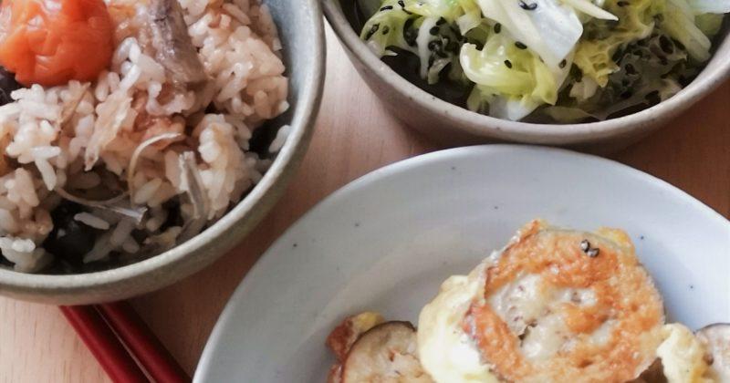 蛋煎茄子拌魚干飯